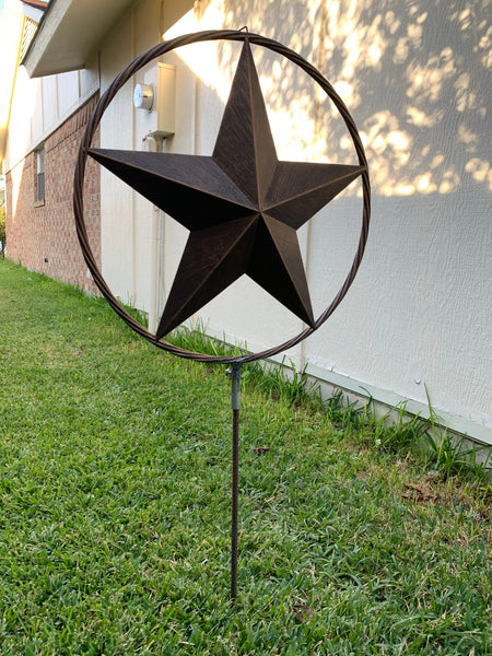 "12"",16"",24"",32"" DOUBLE STAR ON STAKE METAL BRONZE COPPER BARN STAR WITH TWISTED ROPE RING CRAFT WESTERN HOME DECOR RUSTIC DECOR"