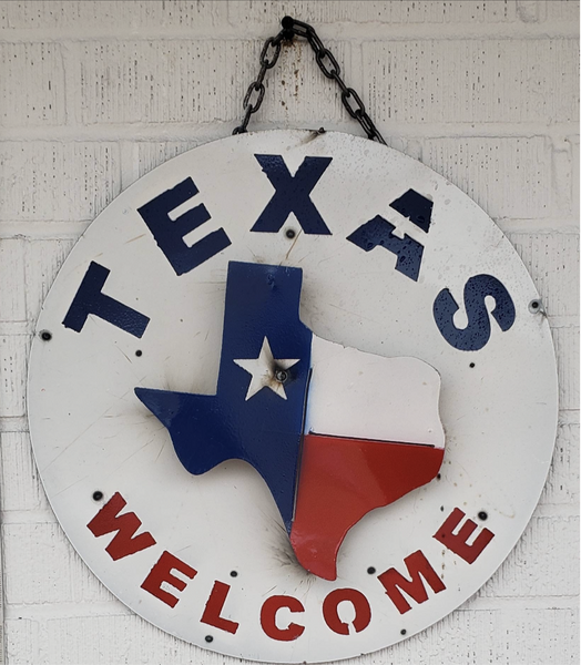 "15"" TEXAS WELCOME METAL SIGN WALL ART WESTERN HOME DECOR BRAND NEW"