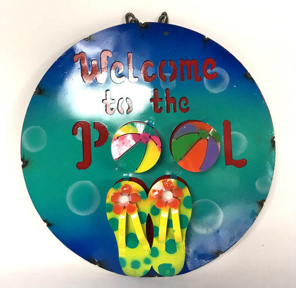 "15"" WELCOME TO THE POOL METAL SIGN WALL ART WESTERN HOME DECOR BRAND NEW"
