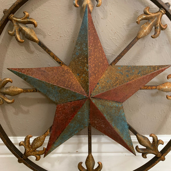 "24"" RUSTIC UNIQUE STAR METAL WALL ART WESTERN HOME DECOR RED GOLD & TURQUOISE ART"