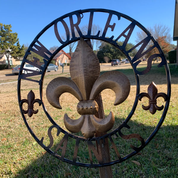 "18"", 24"", 32"" NEW ORLEANS SAINTS METAL SIGN WALL ART WESTERN HOME DECOR RUSTIC GOLD & BLACK ART NEW"
