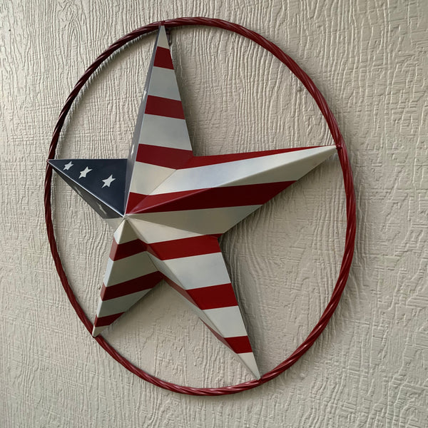 "AMERICAN Flag USA Metal Barn Star RED Rope Ring Western Home Decor Handmade 12"",16"",24"",30"",34"",36"",40"",48"""