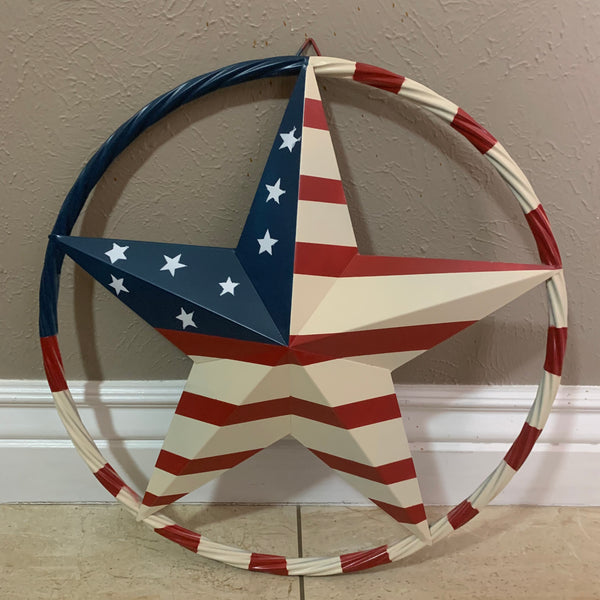 "AMERICAN USA FLAG BARN STAR METAL RED BEIGE BLU STAR12"",16"",24"",32""36"",38"",40"",48"""