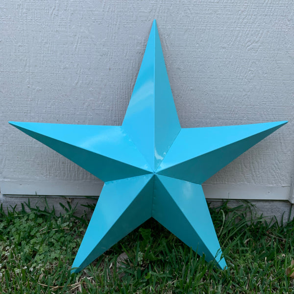 TURQUOISE BARN METAL STAR WESTERN HOME DECOR ART NEW