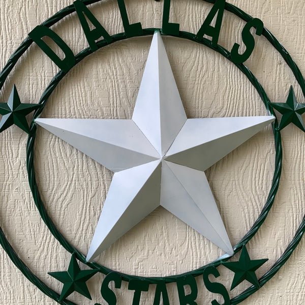 DALLAS STARS BAN STAR METAL HOCKEY TEAM WESTERN HOME DECOR CRAFT RUSTIC GREEN & WHITE