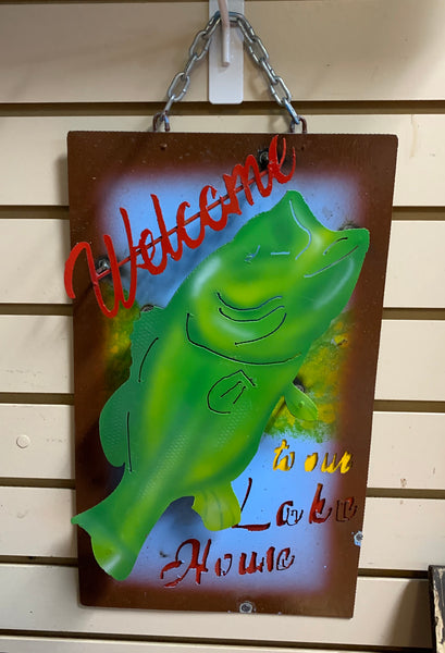 "15"" WELCOME TO OUR LAKE HOUSE METAL SIGN WALL ART WESTERN HOME DECOR BRAND NEW"