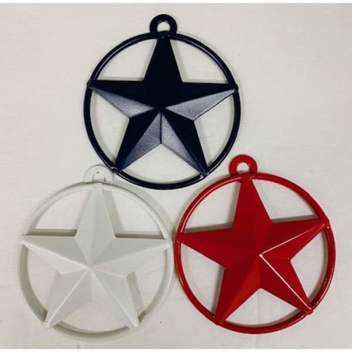 "3"" BARN STAR SOLID RING METAL ART RED WHITE BLUE-A10025"