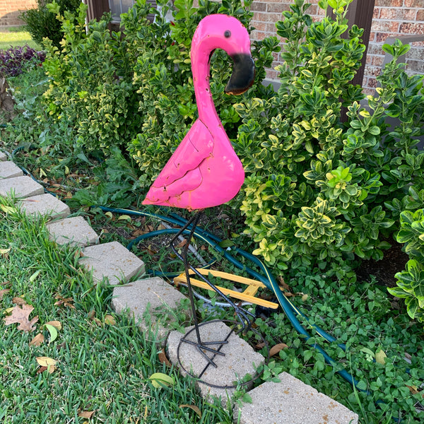 "34"" PINK FLAMINGO GARDEN ANIMAL SCULPTURE METAL DECOR ORNAMENT PINK"