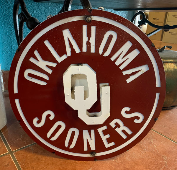 "15"" OKLAHOMA SOONERS TEAM METAL WALL ART WESTERN HOME DECOR BRAND NEW"