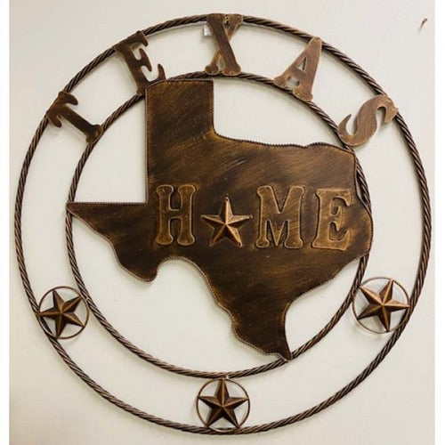 State of Texas Home Map Metal Wall Art Western Home Decor Vintage Rustic Bronze Copper New