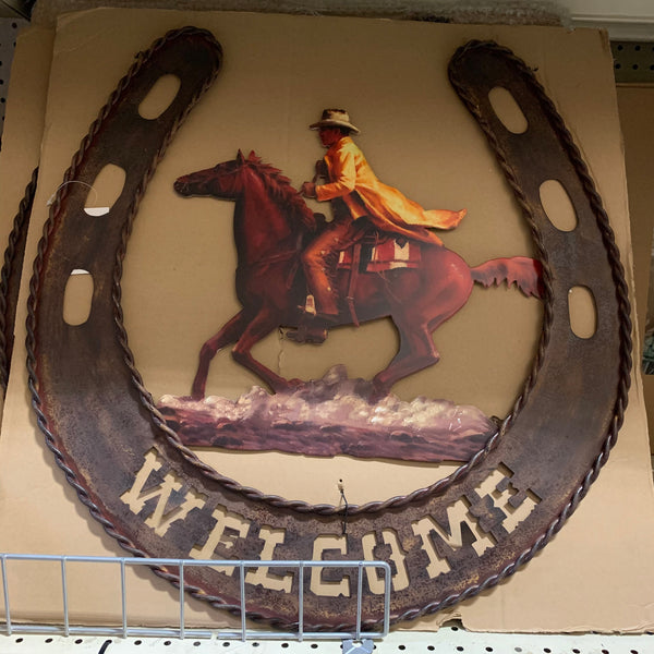 "24"" WELCOME HORSESHOES SIGN METAL WALL WESTERN HOME DECOR NEW"