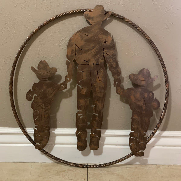 "24"" FATHER & 2 SON LASER CUT METAL WALL ART CUSTOM VINTAGE CRAFT RUSTIC BRONZE COPPER HAND MADE"