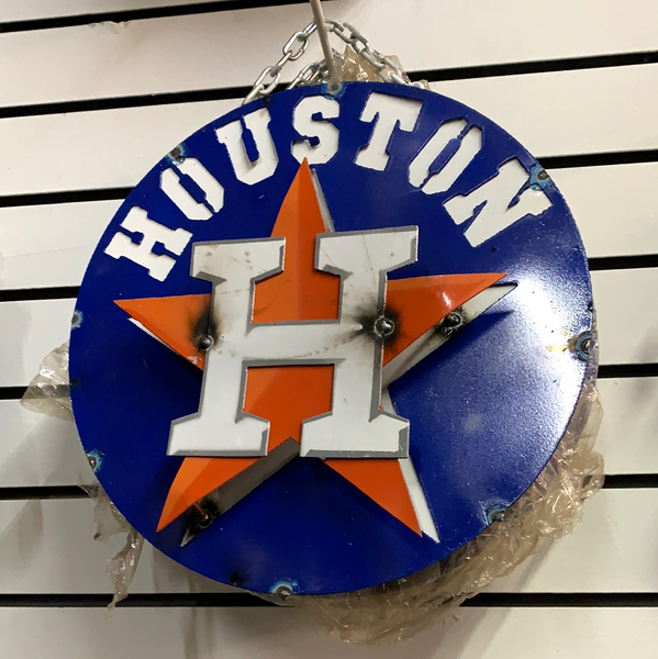 "12"" HOUSTON ASTROS DISC CUSTOM VINTAGE METAL TEAM DISC WALL ART WESTERN HOME DECOR CRAFT HANDMADE"