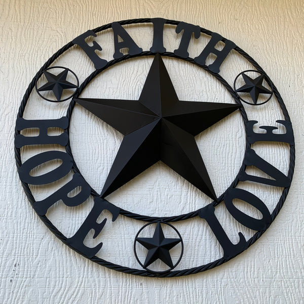 FAITH HOPE LOVE BLACK METAL BARN STAR WESTERN HOME DECOR BRONZE NEW