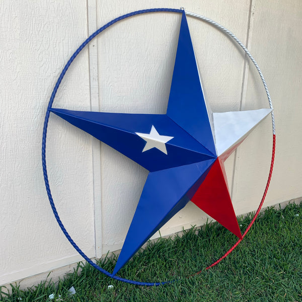 "48"", 60"", 72"" RED WHITE BLUE TX FLAG BARN META STAR WITH TEXAS 1836 SIGN WESTERN HOME DECOR METAL ART VINTAGE RUSTIC RED WHITE & BLUE ART"