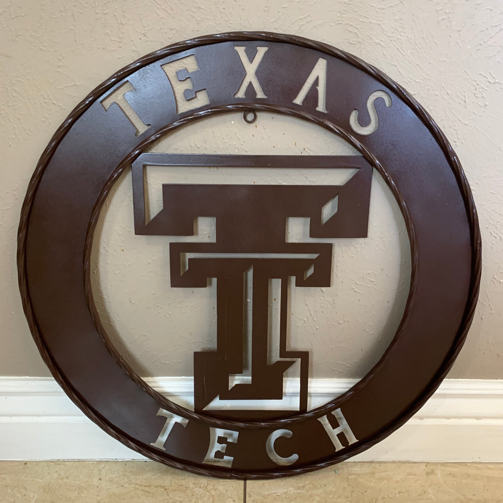 "12"", 18"", 24"", 32"" BROWN TEXAS TECH METAL DISC CUSTOM VINTAGE CRAFT SIGN OFFICIAL LICENSED PRODUCT"