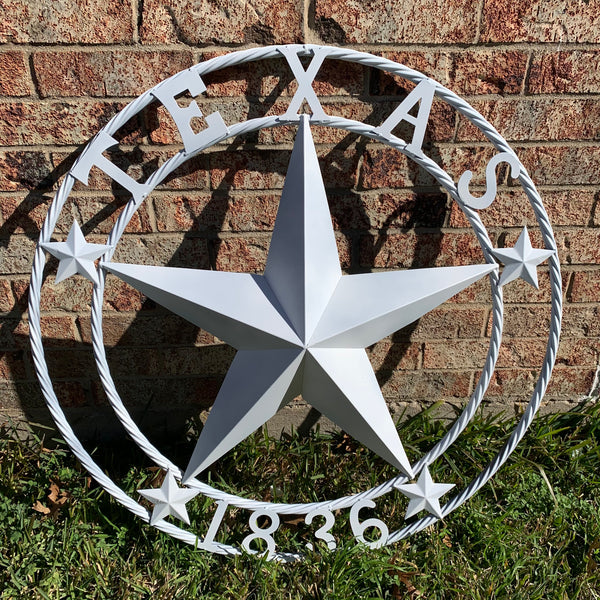 "24"", 32"", 36"", 40"", 44"", 50"" WHITE TEXAS 1836 BARN STAR METAL ART WESTERN HOME DECOR VINTAGE RUSTIC NEW ART"