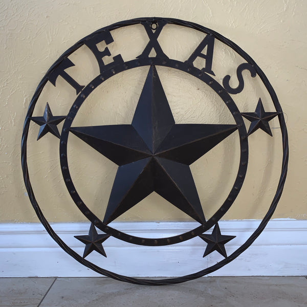 "24"" TEXAS BARN STAR METAL ART WESTERN HOME DECOR VINTAGE RUSTIC DARK BRONZE"