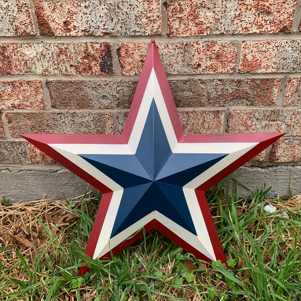 "12"",16"",24"",32"",36"" RED WHITE BLUE METAL BARN STAR METAL WALL ART HANDMADE"