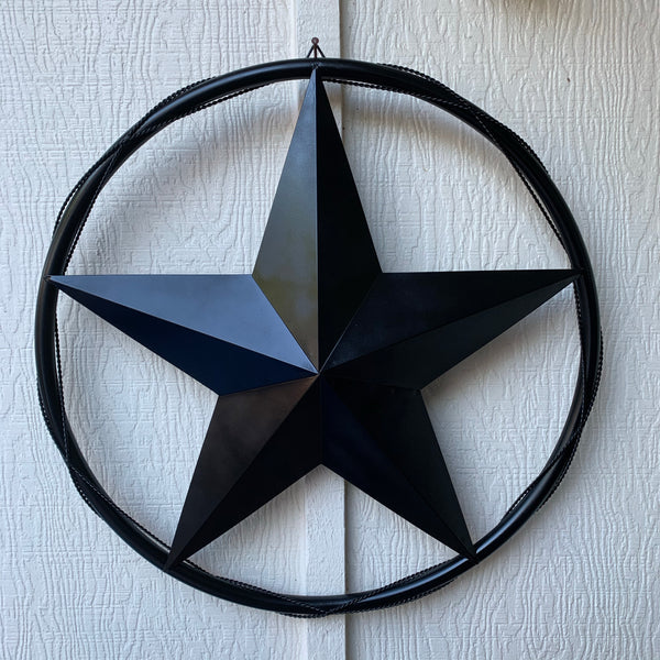 "12"", 16"", 24""  BARN STAR WITH SOLID RING & TWISTED BARB WIRE METAL WALL ART WESTERN HOME DECOR"