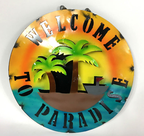 "15"" WELCOME TO PARADISE METAL SIGN WALL ART WESTERN HOME DECOR BRAND NEW"