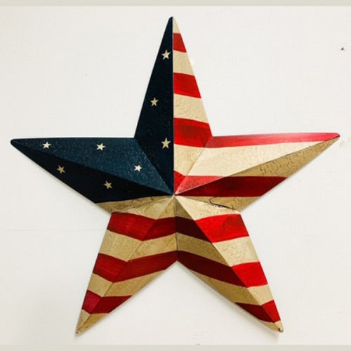 "24"" America USA Flag Star Metal Wall Art Western Home Decor Vintage Rustic flag colors  Art New"