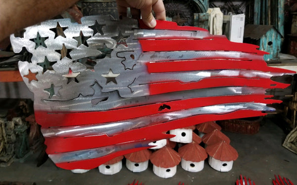 RED & SILVER AMERICAN Flag USA Metal Art Large Western Home Decor New 6ft x 4 ft