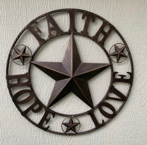FAITH HOPE LOVE METAL BARN STAR WESTERN HOME DECOR BRONZE NEW