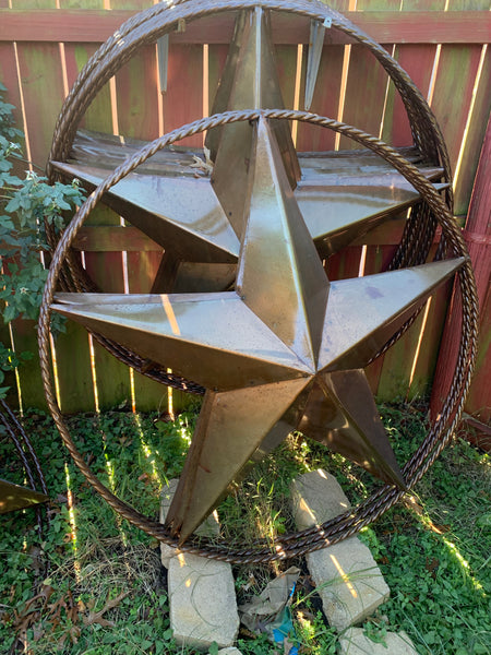 "48"" NATURAL RUSTIC BARN LONE STAR WITH TWISTED ROPE RING METAL ART CRAFT"