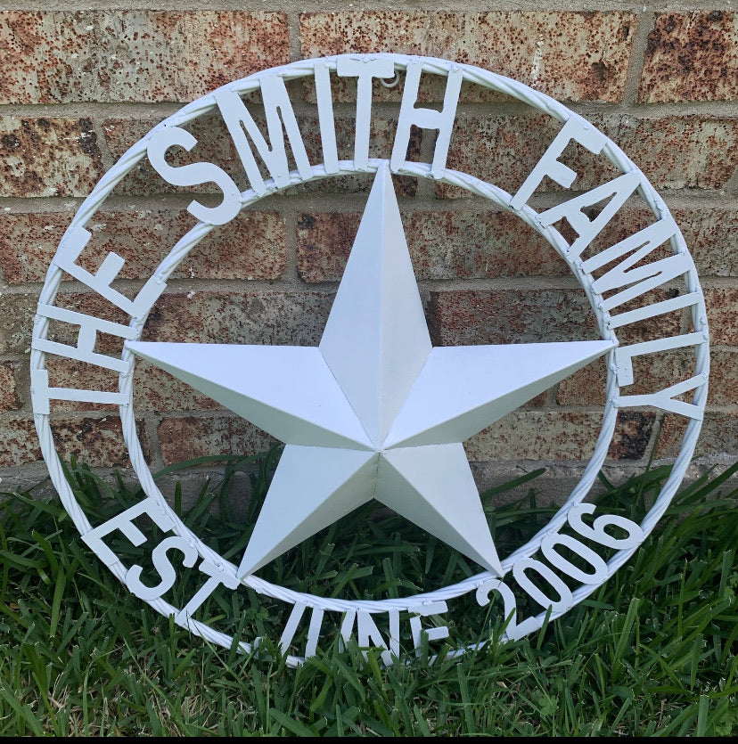 "CUSTOM NAME STAR METAL BARN WHITE STAR 3d WITH TWISTED ROPE RING DESIGN METAL WALL ART WESTERN HOME DECOR VINTAGE RUSTIC NEW HANDMADE, 24"", 32"", 36"", 40"", 44"", 46"", 50"""