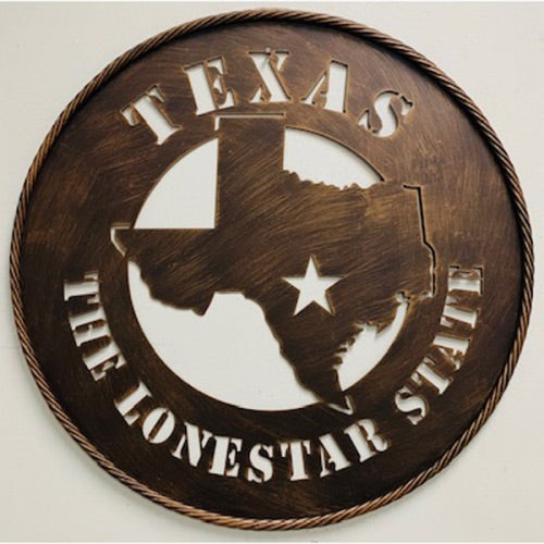 "24"" Texas The Lone Star State Metal  Wall Art Western Home Decor Vintage Rustic Bronze Art New"