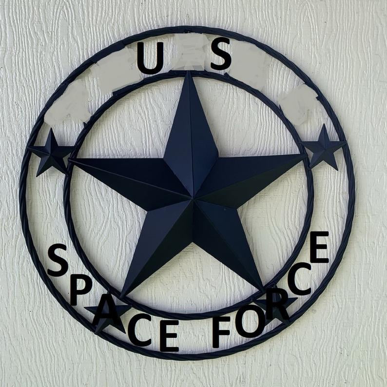 "US  SPACE FORCE 3d BARN STAR CUSTOM NAME STAR VINTAGE METAL CRAFT ART WESTERN HOME DECOR RUSTIC BROWN SIZE:24"",32"",36"",40"",42"",44"",46"",50"""