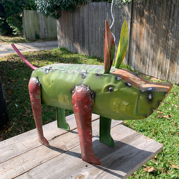 "27"" PIG GARDEN ANIMAL SCULPTURE METAL DECOR ORNAMENT 27""L x 2high"