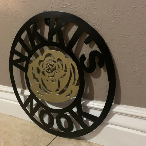 CUSTOM NAME GOLD FLOWER VALENTINE'S LASERCUT METAL SIGN WESTERN HOME DECOR CUSTOM STAR