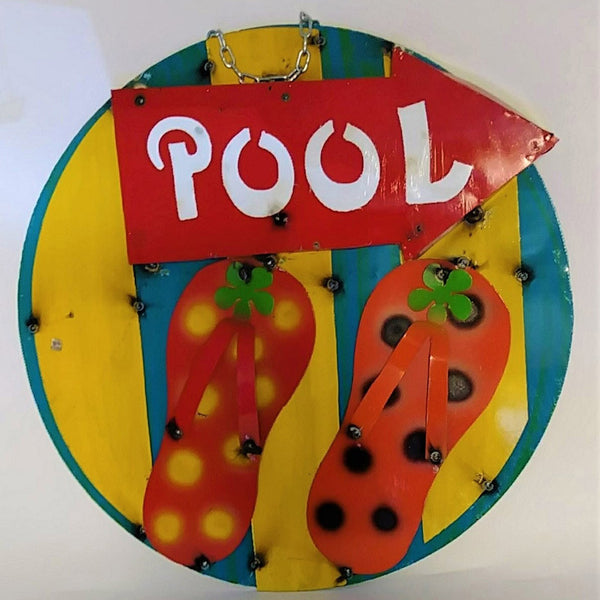 "15"" POOL METAL SIGN WALL ART WESTERN HOME DECOR BRAND NEW"