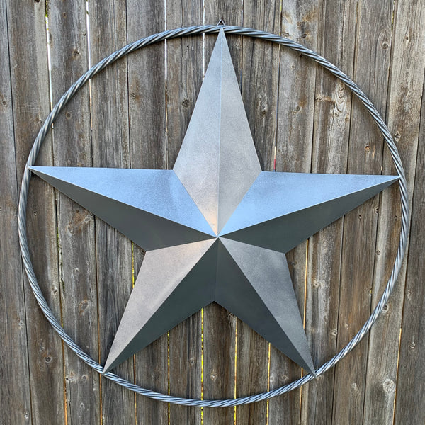 "12"",16"",24"",32"",34"", 36"",38"",40"",48"",60"",72"",96"" RUSTIC SILVER GREY BARN LONE STAR WITH TWISTED ROPE RING METAL WALL ART WESTERN HOME DECOR VINTAGE RUSTIC CRAFT NEW"