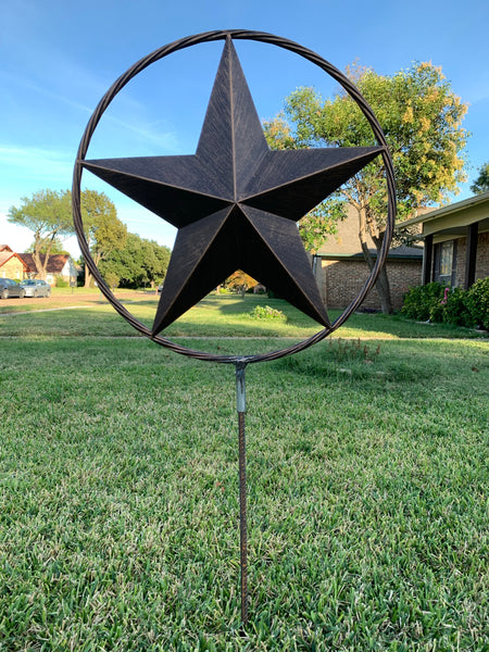 "12"",16"",24"",32 STAR ON STAKE METAL BRONZE COPPER BARN STAR WITH TWISTED ROPE RING CRAFT WESTERN HOME DECOR RUSTIC DECOR"