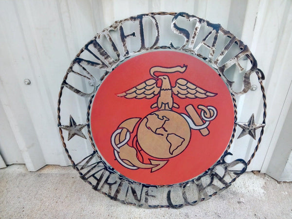 "21"" USA MARINE CORPS MILITARY METAL & WOOD WALL ART DECOR VINTAGE RUSTIC ART NEW"