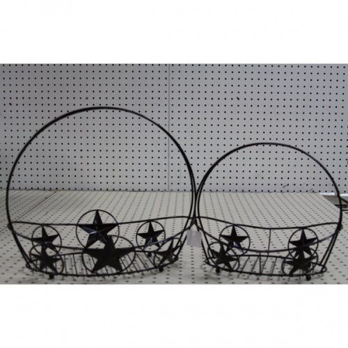 2PCS OVAL BASKET STAR WESTERN HOME DECOR METAL NEW ART--FREE SHIPPING