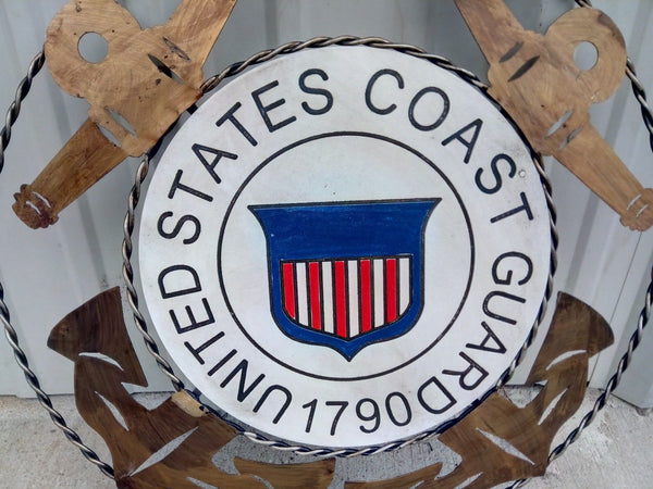 "21"" UNITED STATES COAST GUARD MILITARY METAL RING WOOD PLAQUE ART WESTERN HOME"