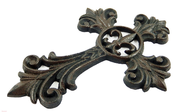 Fleur De Lis Cross Cast Iron Decorative Wall Cross Rustic Brown Finish Victorian Decor #56383