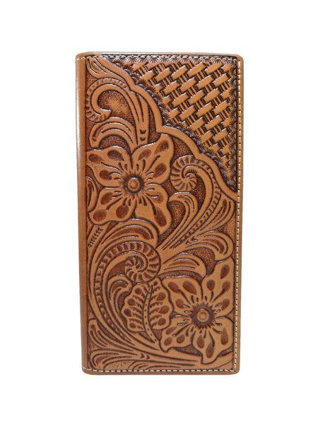 WESTERN CHECKBOOK BI FOLD WOMEN'S WALLET & MEN'S WALLET GENUINE LEATHER TAN FRONT FLORAL EMBOSSED
