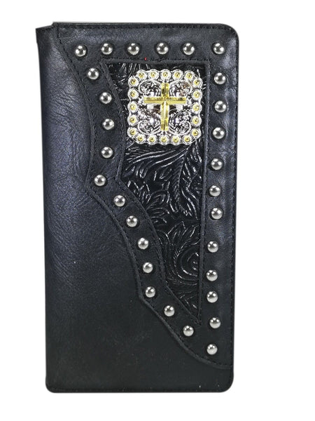 WESTERN CROSS CHECKBOOK BI FOLD MEN'S & WOMEN'S GENUINE LEATHER BLACK WALLET NEW