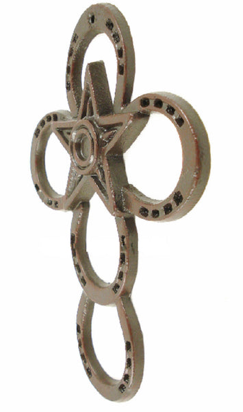 Horseshoe Wall Cross Cast Iron With Star Rustic Dark Brown 11x 8¼ in # 64445