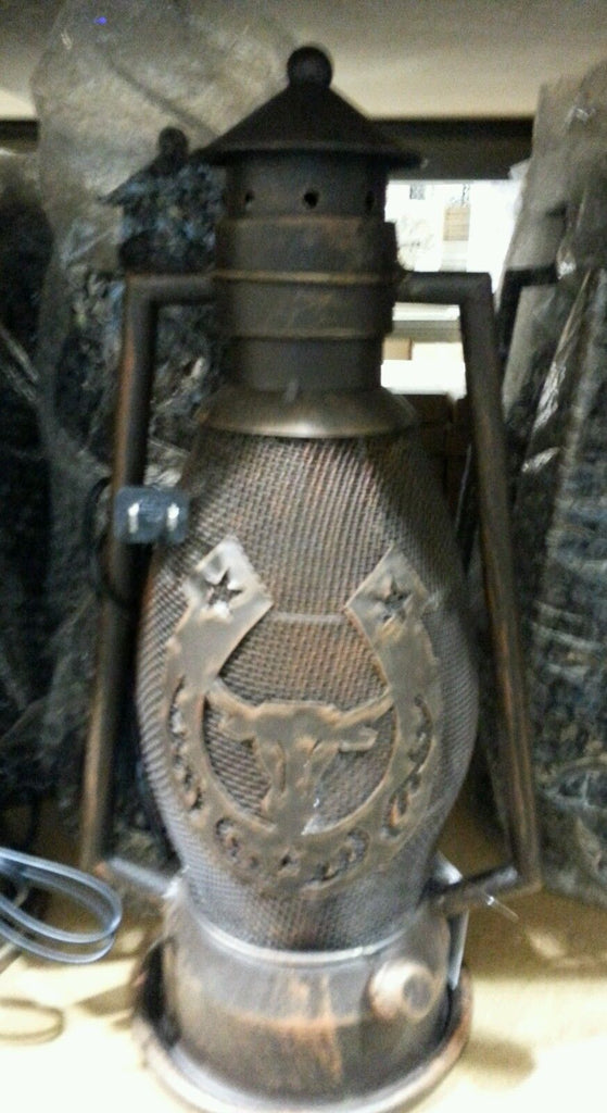 BOOT COWBOY COWGIRL BOOTS METAL ART ELECTRIC LANTERN LAMP LIGHTING WESTERN HOME