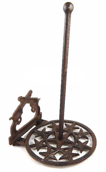 Western Crossed Pistols Stars Paper Towel Holder Cast Iron Rustic Brown Finish #56486