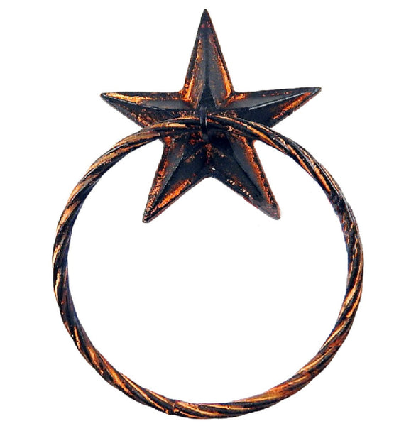 Rustic Western Star Hand Towel Ring Cast Iron Rust Black Finish Wall Mounted #55068