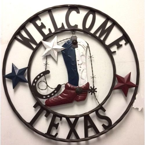 "24"" WELCOME TEXAS COWBOY COWGIRL BOOT METAL WALL DECOR WESTERN HOME DECOR RUSTIC RED WHITE BROWN NEW"