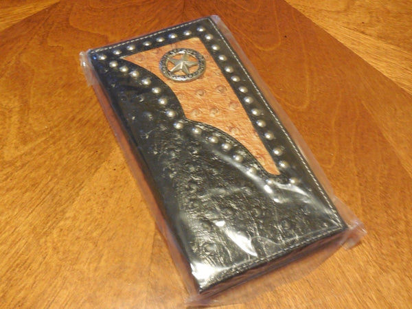 LONE STAR GENUINE LEATHER STUDDED CARVED BLACK COWBOY RODEO WESTERN CHECKBOOK