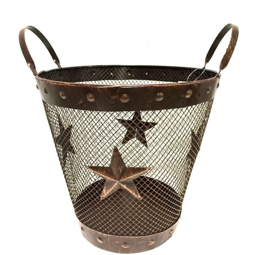 "14"" STAR WASTE BASKET BUCKET WESTERN HOME DECOR METAL NEW ART--FREE SHIPPING"